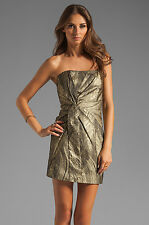 NWT Haute Hippie Metallic Gold & Black Twist Front Strapless Mini Dress XS $495