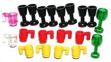 LEGO 20 CUPS GLASSES GOBLETS Minifig Drink Mugs Food Utensils
