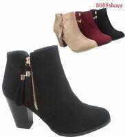 Women's Fashion Almond Toe Fringe Tassel Chunky High Heel Booites Size 5- 10 NEW