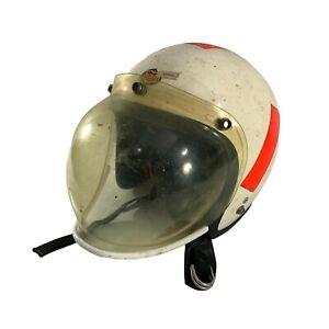 Vintage 1966 Buco Style Motorcycle Helmet Paulson Snap Bubble Face Shield Visor