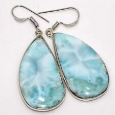 """Ethnic Earring 00006000 s 2"""" Jewelry Gw Larimar 925 Sterling Silver Plated Handmade"""