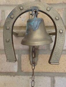 Antique/Vintage Brass Horse shoe Door Bell On Spring-Tarnished But Good Order
