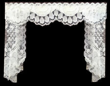 WIDER DELICATE WHITE LACE CURTAIN /TAILS / DRAPES FOR DOLLS HOUSE BY SYLVIA ROSE