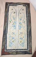 antique hand sewn 1800 ornate Qing dynasty needlepoint embroidery tapestry art .