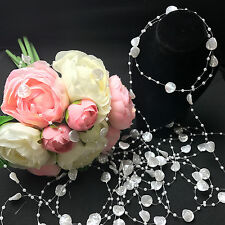 New 5M White Pearl Beads String Leaves Shape DIY Wedding Party Decorat Trim ABS