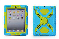 iPad Mini Blue Green Rugged Silicone Hybrid Protector Case with Stand