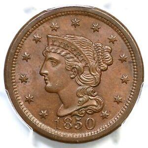 1850 N-13 R-3 PCGS MS 64 BN CAC Braided Hair Large Cent Coin 1c