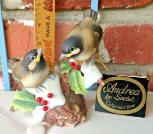 Vintage Andrea Chickadees Japan Porcelain Art Christmas Birds!