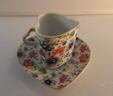 Lily Creek Heart Shape Tea Cup and Saucer Floral 24K Gold Trim