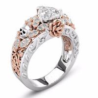 Women 925 Silver Skull Ring White Topaz Heart Flower Wedding Jewelry Size 6-10