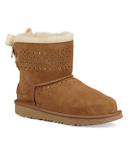 NIB UGG Kids Mini Chestnut Dae Sunshine Perforated Suede Boots - Big Kids size 5