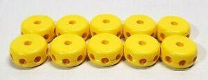 10 LOT TINKERTOYS REPLACEMENT BUILDING PIECE PART PLASTIC YELLOW SPOOLS WHEELS