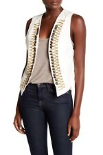 Free People White Military Vest Sz L $98 NWT OB650474 100% Cotton Embroidered