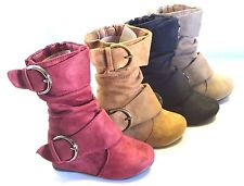 Girl Suede Boot Slouchy (k lein-70) TODDLER Black Tan Burgundy Taupe Buckle