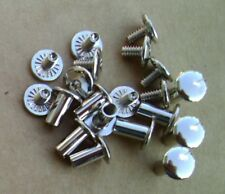 """Silver Plain Head Chicago Screws 10 Pack 3/8"""" Belts Bridles Leather Craft New"""