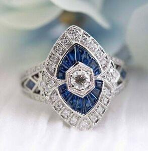 Long Vintage Antique Filigree Art Deco Wedding Engagement Ring 925 Sterling