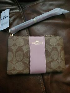 Coach F58035 Signature PVC Leather Corner Zip Wristlet - Beige
