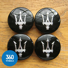 4 NEW GENUINE ORIGINAL MASERATI BLACK GRAN TURISMO WHEEL CENTRE CAPS HUB BADGES