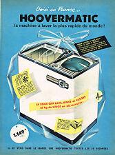 PUBLICITE ADVERTISING 035 1960  HOOVERMATIC    lave linge machine à laver