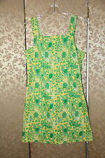 Lilly Pulitzer Green Yellow Multi-Color Floral Frogs Sleeveless Cotton Dress 4