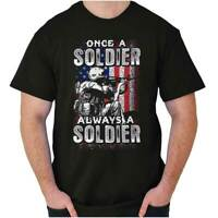 Once A Soldier USA Military Army American Adult Short Sleeve Crewneck Tee