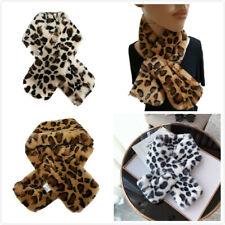 Women Winter Faux Fur Collar Leopard Plush Shawl Neck Warmer Pull-Through Scarf