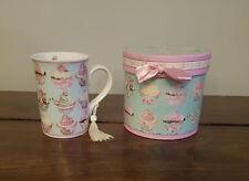 Cupcake Taza de té en una caja de la Magdalena de Regalo Con Moño Rosa (nuevo, sin usar a estrenar)