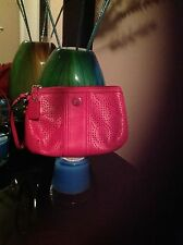 Coach Pink Perforated Wristlet