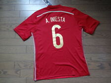 Spain #6 A.Iniesta 100% Original Soccer Jersey 2014/15 Home NEW M(Japanese O)
