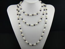 Freshwater Black & White Big Pearl Necklace 925 Sterling Silver Multiple Chains
