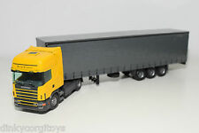 TEKNO SCANIA 144 TOPLINE TRUCK WITH TRAILER YELLOW GREY NEAR MINT RARE