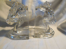 Vintage Art deco glass horse head bookends Westmoreland?