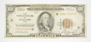 Rare 1929 $100 National Currency Cleveland, OH Fed Reserve Bank Brown Seal *843