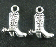 100pcs Silver Color 3D Cowboy boot Charms Jewelry DIY 17x13x4mm C184