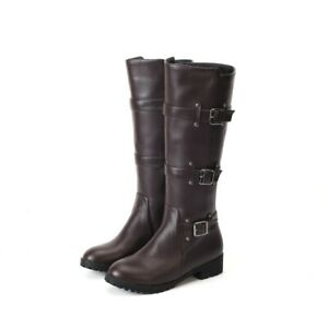 Punk Style Ladies Round Toe Buckle Flat Knee-High Boots Riding Motorcycle Shoes
