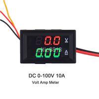 DC 100V 10A Voltmeter Ammeter Blue + Red LED Dual Digital Volt Amp Meter Gauge