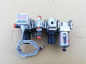 SMC pneumatic AR20-N01H-RZ + AF20-N01-CRZ + ISE40-T1-62L Druckminderer Filter