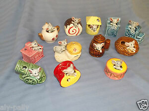 FOREIGN MICE MOUSE TOOTHPICK HOLDERS ORNAMENTS JAPAN 1960'S