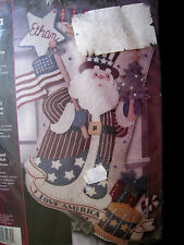 "Christmas Bucilla Felt Applique Holiday Stocking Kit,PATRIOTIC SANTA,85430,18"""