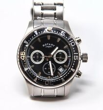 Authentic Rotary Men's Chronograph Watch GB00014/04 Black Face Stainless Strap