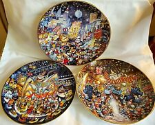 Lot of 3 Franklin Mint Heirloom Bill Bell Cat Plates New Year 2000