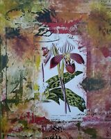 Original Floral Orchid Botanical Mixed Media Collage Canvas Painting Crossley