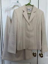 Le Suit Women 2 Pc Skirt Suit Size 14 Champagne Cream Business Church Suit
