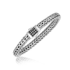 Men's Fashion Black Sapphire Embellished Bracelet Size 7.5 in Sterling Silver