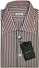 $695 NEW KITON WHITE DARK NAVY BLUE & HOT PINK STRIPE DRESS SHIRT EU 43 17