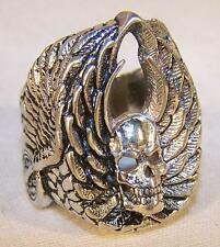 DELUXE SKULL WHEELS WING SILVER BIKER RING BR167  jewelry NEW mens rings WINGS