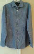 Men's fitted Banana Republic brand button front striped size 16-16.5 Blue Stripe