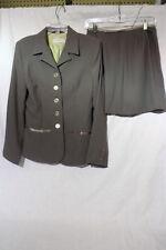 CIGNAL 2 Piece Womens Suit, Blazer & Skirt Set, Brown & Green, Womens Size 8-B46