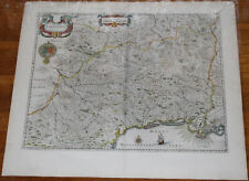"1645 Willem Blaeu France Languedoc Antique map 25"" x 22"" large original"