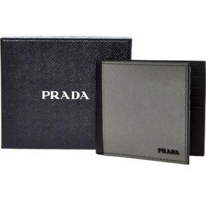 Prada Black and grey leather wallet Credit Card Holder